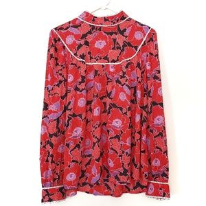 Who What Wear Tops - Who What Wear Red Floral Print High Neck Blouse